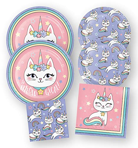 Kitty Unicorn Party Supplies Pastel Rainbow Cat Plates Napkins Set (64 Count)
