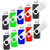 RAOYI 10 Pack 8GB Swivel USB Flash Drive Metal Thumb Drives Pen Drive USB 2.0 Bulk Flash Drive Memory Stick(Mixed-Color)