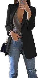 Koodred Women's Casual Work Office Open Front Long Sleeve Lightweight Loose Fit Blazer Jacket Cardigan Suit