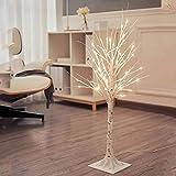 QTWW Lámpara de pie Decorativa, Lámpara de pie Moderna y Creativa Tejida a Mano, Lámpara de pie LED de árbol para Interiores de 90 cm, Cable de Carga USB, Blanco cálido