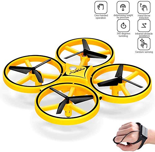Kijk Controle Drone Aircraft, Gravity Sensor Quadcopter Drone for Kids, Mini RC Helicopter Vliegtuig met infrarood obstakel vermijden en 360deg, Flip, Interactive UFO speelgoed met heldere LED Light (