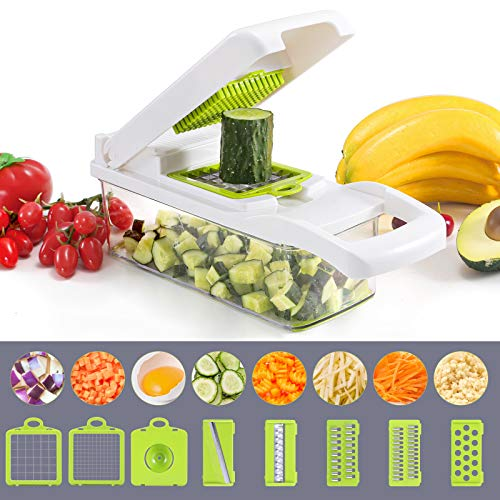 Vegetable Chopper, Multi-functional Onion Chopper, Veggie Chopper with 6 Stainless Steel Blades, 12 in 1 Vegetable Slicer with Container, Mandoline Slicer, Ideal for Fruits/Vegetables/Salads (White)