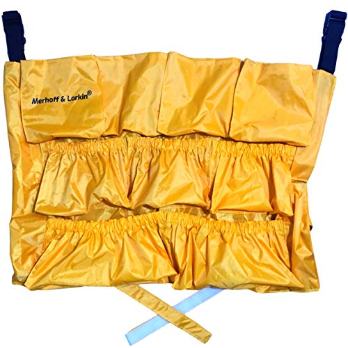 Yellow Trash Caddy Bag for Garbage Bins   Brute Compatible   Fits 32-50 Gallon Can   Heavy Duty Vinyl Construction   Large Commercial Grade Size   Organizer for Cleaning, Maid, & Janitorial Duties