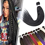 Hairro Pre-stretched Professional Braiding Hair Extensions Synthetic Hair 26 Inch Yaki Easy Braids Hot Water Setting EZ Braiding Twist Hair for African Box Jumbo Braid 2 Packs #1B Black