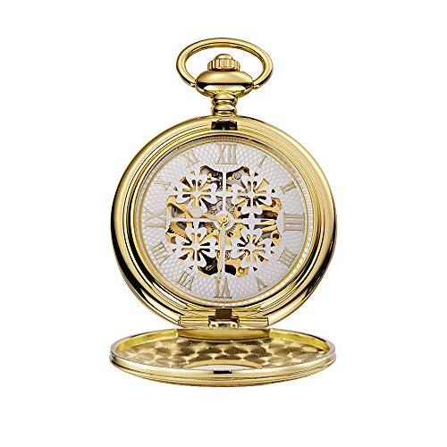 Yhjkvl-AC Reloj de Bolsillo para Hombres y Mujeres, Reloj de Bolsillo con trébol de Cuatro Hojas, Manual de bobinado y perforación, Cubierta Inferior, Reloj de Bolsillo mecánico, Dorado, 4.7x1.5cm