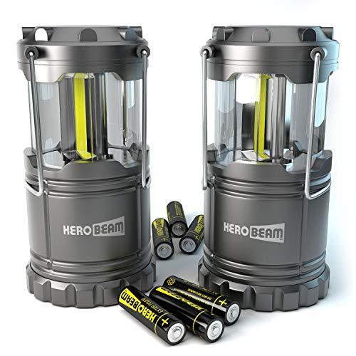 2 x HeroBeam® LED Laterne – COB Technologie mit 300 LUMEN! – BATTERIEN ENTHALTEN - Zusammenklappbare Campinglampe – Magnetunterlage - Großartig bei Camping, im Auto, Schuppen, Dachboden, Garage & Stromausfällen (DOPPELPACK)