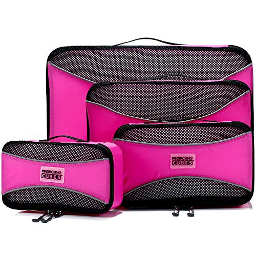 PRO Packing Cubes for Travel | 4-Piece Luggage Organiser Bags Set | Premium Quality Ultralight Travel Cubes for Packing Suitcase, Carry-on, Bags and Backpack - Gum Pink