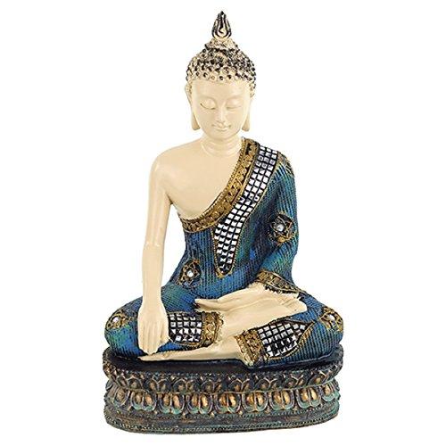 Estatua Buda h 32 x 20 x 15 poliresina con incrustaciones de mosaico de espejo meditación