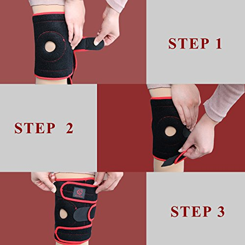 FAYEAN Knee Brace Support,Relieves ACL,LCL,MCL,Meniscus Tear,Arthritis, Tendonitis Pain,Open Patella Design Neoprene Adjustable Veclro,Breathable & Comfortable for Sports & Exercising