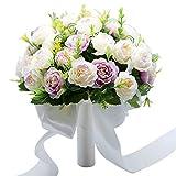 Bouquet de mariée WDOIT - Fleurs artificielles en satin - Pour mariage, Saint-Valentin, séance photo, violet clair, 23x23x30cm