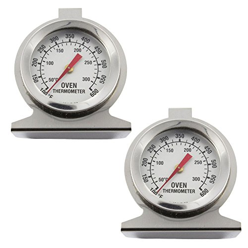 SPARES2GO universele oven fornuis roestvrij staal thermometer temperatuur gaas (300oC, 600oF, pak van 2)