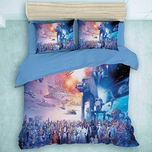 BOLAT - Juego de ropa de cama infantil con diseño de Star Wars, funda de edredón y ropa de cama digital 3D de microfibra (135 x 200 cm)