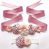 MoonyLI Juego de cinta para la frente, vestido de dama de honor, cinturón floral, cinturón de flores, para mujeres y niñas, estilo floral, novia, vestido de graduación, accesorios