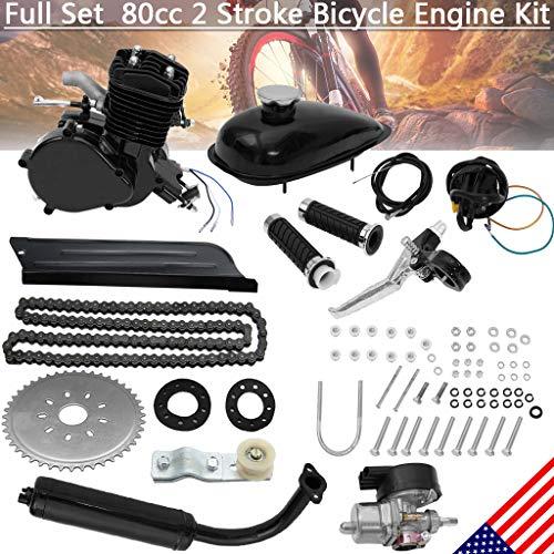 "80CC Bicycle Engine Kit, Motorized Bike 2-Stroke, Petrol Gas Engine Kit, Super Fuel-efficient for 26"" and 28"" Bikes (Black)"