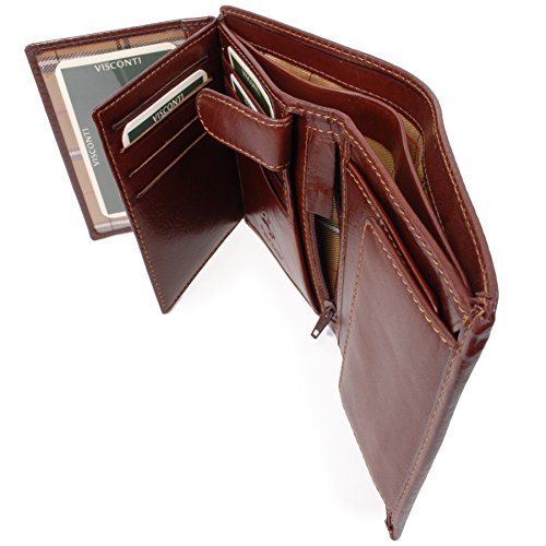 Visconti Wallet - Italian Style Leather - RFID Available/Hardwearing/Gift Boxed - MZ3 Milan - Brown-RFID