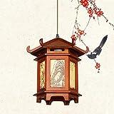 Zenghh Rotatorio de la lámpara escénica sólido Suspensión de madera E27 pared de la lámpara de techo colgante del caballo que trota Cuelgue paisaje luz de la ventana de papel galopante caballo de la l