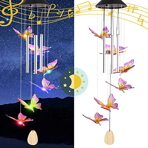 Vency Direction Butterfly Solar String Lights Wind Chimes, Gifts for Mom, Birthday Gifts for Wife Grandma, Outdoor Color Changing Waterproof Mobile Decorative Lights, Ornament Decorations for Garden