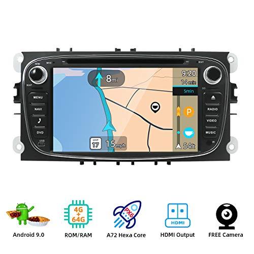 JOYX PX6 Android 9.0 Autoradio Passt für Ford Focus/Mondeo/S-Max/C-Max/Galaxy - GPS 2 Din - Rückfahrkamera Canbus KOSTENLOS - 4G+64G - 7 Zoll - MIT BT-4.0 4K-Video HDMI Lenkradsteuerung DAB 4G WiFi