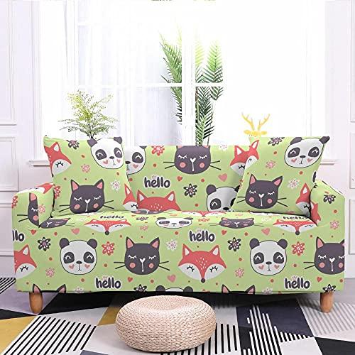 Copridivano Verde, Animale, Panda Elasticizzato Fodera Protettiva Antiscivolo Copridivano Antigraffio Universale,Chaise Longue Sofa Cover in Poliestere 4 Posti