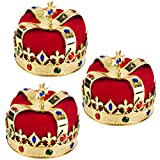 Royal Jeweled King's Crown - Costume Accessory (3 Pack)