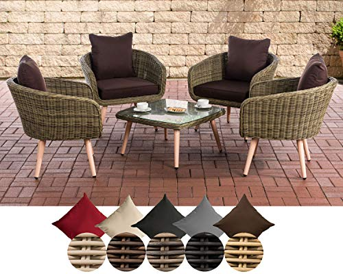 CLP Ameland Polyrattan Lounge Set, Seat Height 40 cm, Garden Lounge Round Rattan I 4X Armchairs & Glass Table I 5 mm Rattan Thickness