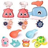 FUN LITTLE TOYS 8 PCs Bath Toys for Toddler with Waterfall Station, Bath Squirters, Wind Up Bath Toy and Bath Cups, Birthday Gifts for Boys and Girls