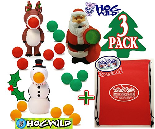 Hog Wild Holiday Poppers Gift Set Battle Bundle with Santa, Snowman, Reindeer & Exclusive 'Matty's Toy Stop' Storage Bag - 3 Pack