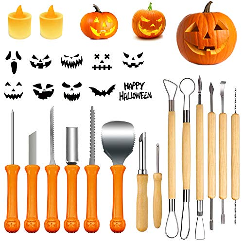 Halloween Pumpkin Carving Kits, 18Pcs Professional Pumpkin Cutting Supplies Tools with Carrying Case, 2 LED Candles and 10 Stencils,Stainless Steel Jack-O-Lanter Carving Knife for Halloween Decoration