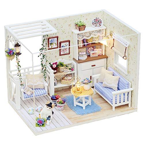Juego casa muñecas en miniatura con muebles, kit de casa muñecas madera con LED DIY Mini casa muñecas Plus prueba polvo movimiento música bricolaje casa manualidades mejor regalo para niños adultos