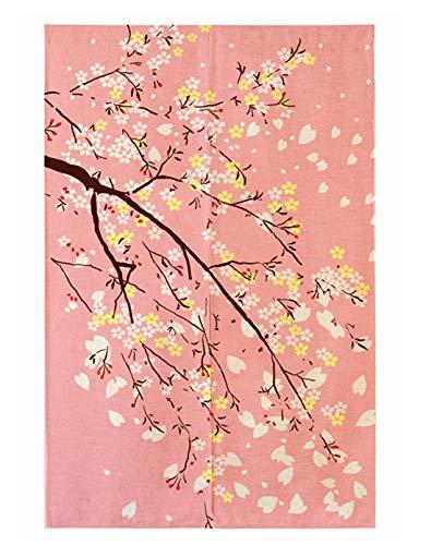 LIGICKY Noren - Cortina japonesa para puerta con estampado de flores de cerezo para decoración del hogar, 85 x 149 cm, color rosa