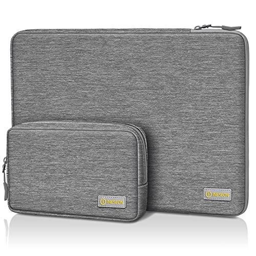 I INESEON 14 Zoll Laptop Hülle Tasche für 14 Zoll HP Lenovo Dell Acer Chromebook Notebook, 2016-2019 MacBook Pro 15, 15 Zoll Surface Laptop 4/3 Schutzhülle Sleeve mit Zubehörtasche, Grau