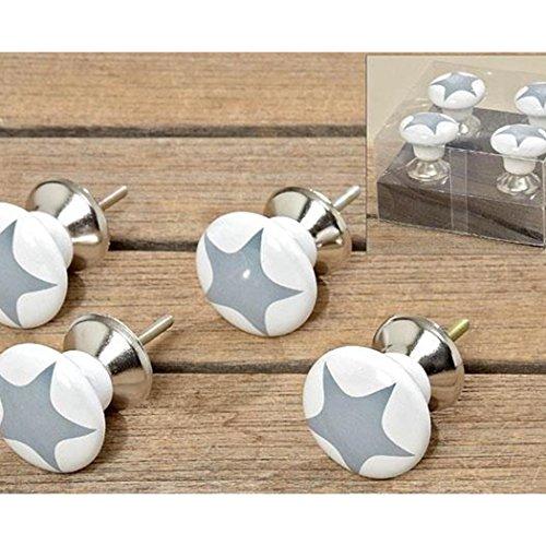 Unbekannt Young Schwinn Design–Pomo para Muebles Conjunto de 4Porcelana Estrellas Gris