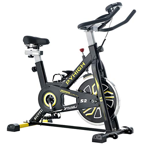 PYHIGH エアロバイク 静音 スピンパイク 16kgホイール 本格的トレーニング フィットネスバイク 家庭用 ダイエット器具 バイク 室内 エクササイズバイク 有酸素運動 トレーニングマシン 運動バイク (ブラック)