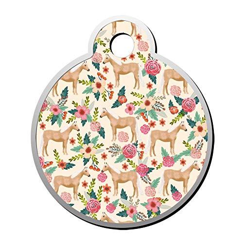 VinMea Custom Palomino Paard Bloemen Boerderij Natuur Huisdier ID Tag Ronde vorm Circulaire Gepersonaliseerde Hond Tags & Kat Tags Identiteitskraag Tags