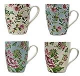 Juego de 4 tazas de porcelana fina, muchos diseños, bien embaladas, alta calidad - Floral