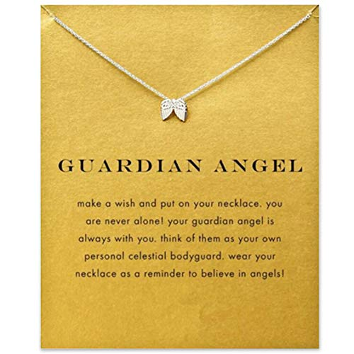 Idiytip Women Necklaces Sterling Silver Pendant Gold Plated Necklace Jewellery for Ladies Girls,Wings Silver+Card