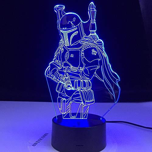 The Mandalorian Serie de TV Drama Boba Fett Star Armor Warrior Wars 3D LED Acrílico Luz nocturna Boy Fans Dormitorio Oficina USB Lámpara de mesa Regalo para niños Decoración para el hogar