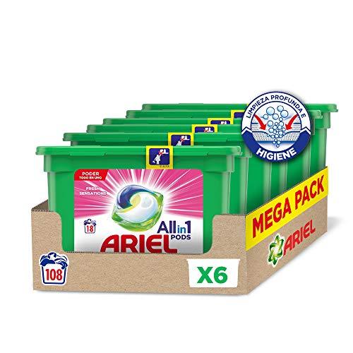 Ariel Pods Allin1 Detergente en Cápsulas para Lavadora, Fragancia Sensaciones, 108 Lavados (6 x 18)