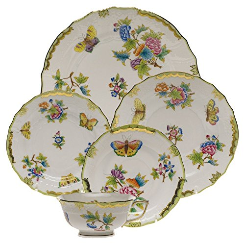 Herend Queen Victoria Green Porcelain China Five Piece Place Setting