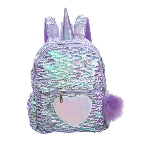 VALICLUD Mochila de Lentejuelas Reversible de Unicornio para Niños Niñas Mochila Escolar Clitter Brillante Mochila de Viaje Casual de Corazón Encantador