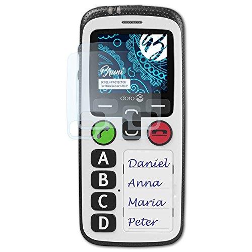 Bruni Schutzfolie kompatibel mit Doro Secure 580 IP Folie, glasklare Bildschirmschutzfolie (2X)