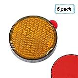 AOHEWEI Reflectores Autoadhesivos RedondoReflectante Seguridad Circulares Amarillo Trasero Reflejo para Postes de Puerta Valla Remolque Caravana Aprobación ECEPaquete de 6 (Amarillo)