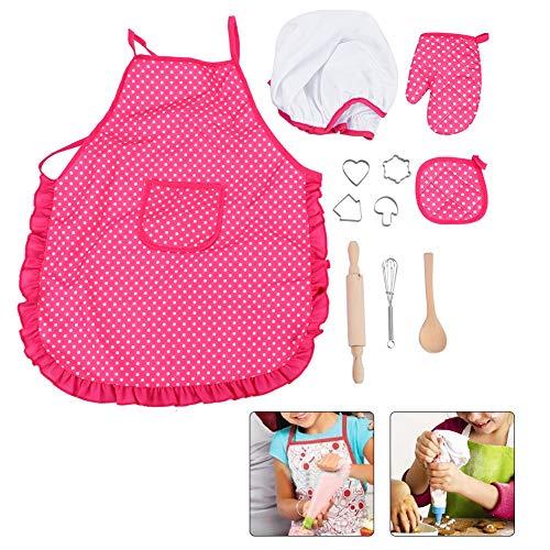 Pomya Kinder Koch Set, DIY Kochen Backen Anzug Spielzeug Set Pretend Play Kleidung Schürze Handschuhe Hut Herd Tolles Spielzeug für Kinder, um ihre praktische Fähigkeit zu entwickeln