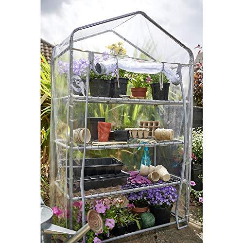 wilko Mini Greenhouse With 3 Metal Shelves And Transparent Zipper PVC Cover Large, Maximum Load Per Tier - 10kg