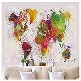XXSCZ Tapiz para Colgar en la Pared,Mapa del Mundo-M / 150cmx130cm,de Mandala, Bohemio, Retro, decoración para el hogar, Toalla de Playa, tapete de Yoga, Negro