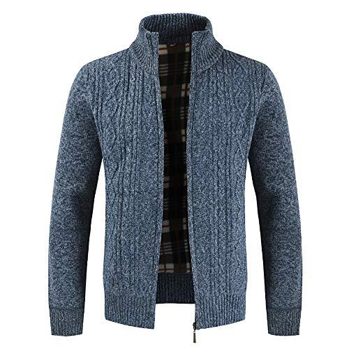 MERICAL Maglione Solido Bavero Casual da Uomo più Giacca Giacca Cardigan in Velluto Caldo(Blu,Medium)