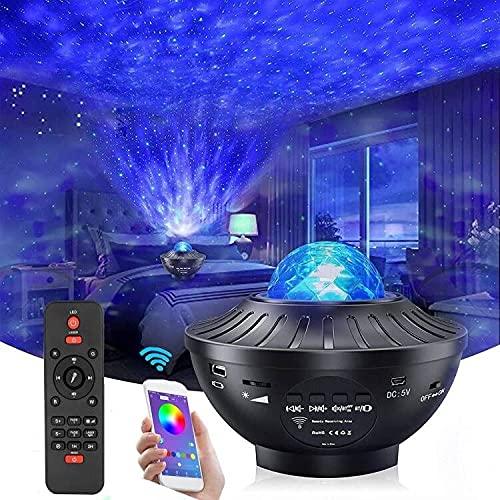 Proyector de estrellas de luz nocturna con temporizador y control remoto, Monkey Home 2 en 1 Ocean Wave Proyector para habitación de bebé, habitación de juegos