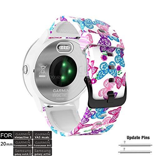 YOOSIDE für Vivoactive 3 Music Armband, 20mm Schmetterling Muster Silikon wasserdicht Ersatzarmband Uhrenarmband für Garmin Vivoactive 3, Forerunner 645/645 Music,Vivomove HR (Butterfly)
