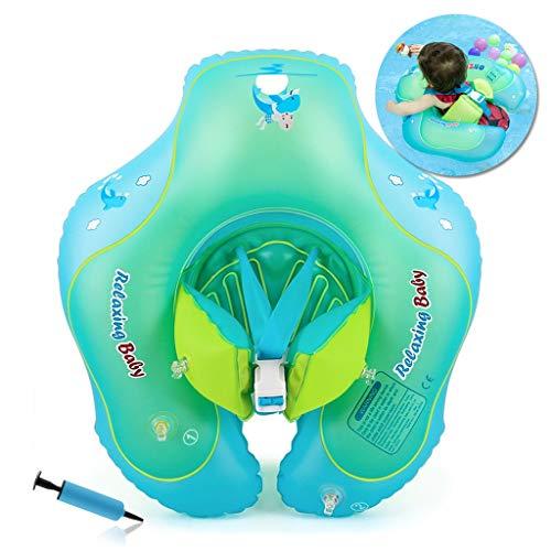 HONGCI Baby Schwimmring Baby Float Schwimmreifen mit Pumpe, Baby Schwimmen Ring Baby Schwimmhilfe Kinder Schwimmring Aufblasbarer Einstellbare Life Boje Schwimmtrainer für Baby (6 - 36 Monaten,L)