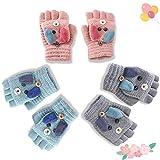Sunshine smile Handschuhe Kinder Fingerlos (Rosa grau blau)